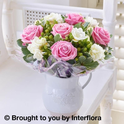 Baby Fragrant Pink Rose & Freesia Jug