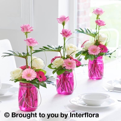 Magenta Table Lantern Decoration Trio