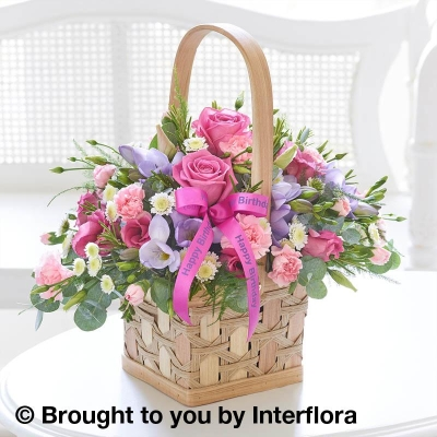 Happy Birthday Scented Pink & Lilac Basket with Happy Birthday Balloon