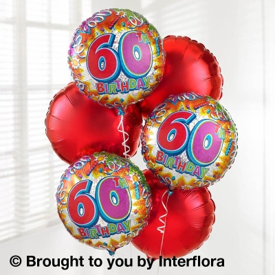 60th Birthday Helium Balloon Bouquet