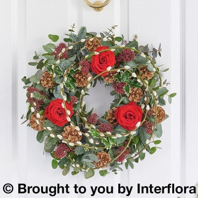 Festive Red Rose Door Wreath