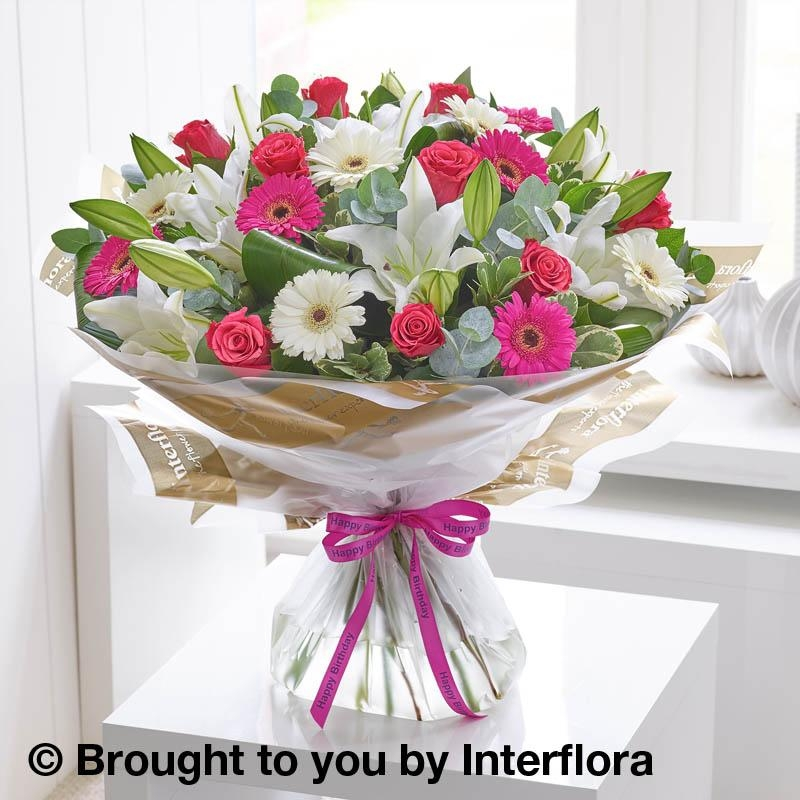 happy birthday rose lily germini hand tied