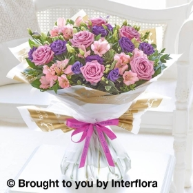 Happy Birthday Lilac Rose & Alstroemeria Hand tied