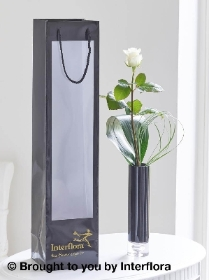Single White Rose Vase with 125g Maison Fougere Chocolates