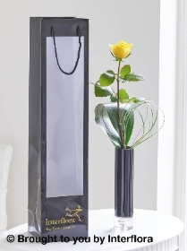 Single Yellow Rose Vase with 125g Maison Fougere Chocolates