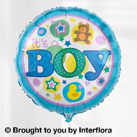 Baby Boy Gift Box with Baby Boy Balloon & Bramble Bear