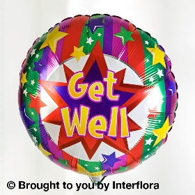Get Well Soon Vibrant Hand tied with Get Well Soon Balloon
